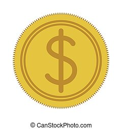 silhouette yellow coin with dollar symbol