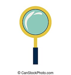 silhouette with magnifying glass yellow frame