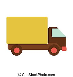 transport truck with yellow wagon and wheels vector...