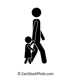 man walking with boy icon