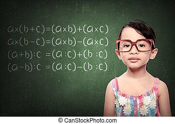 Little Girl With Math Formulas