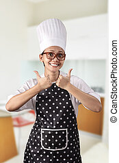 Chef, mujer, joven