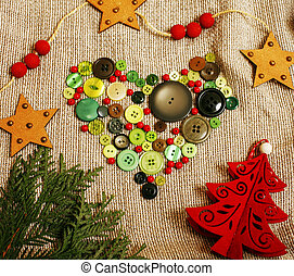 christmas card wooden vintage with handmade gifts, toys, cookie,