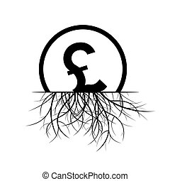 British Pound sign in a circle and Roots. Black Vector...