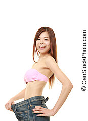 Japanese woman in large pant after losing weight - studio...