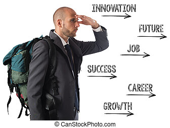 Success way - Businessman with explorer backpack follows the...