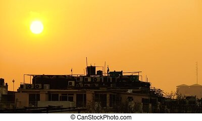 Sunset in New Delhi. - The Sun is Setting Down Above the...