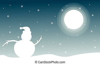 Landscape of Christmas with snowman at night