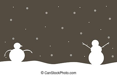 Silhouette of snowman winter scenery