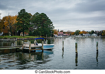 The harbor in St. Michaels, Maryland.