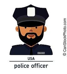 Flat illustration. Avatar USA police officer
