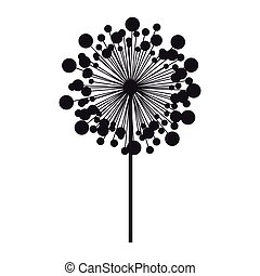 silhouette dandelion with stem and pistil vector...