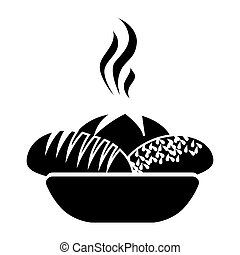 monochrome silhouette basket with hot bread