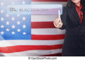 Business woman written a Election Day in search bar on...