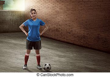 posición, joven, callejón, jugador, hembra, futbol