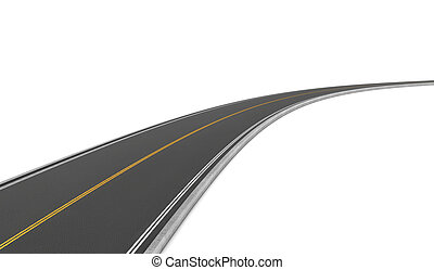 Rendering of two-way road bending to right on white background.