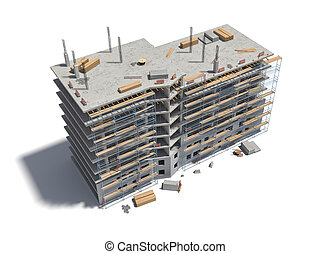 Rendering of building under construction with scaffolding and different equipment.