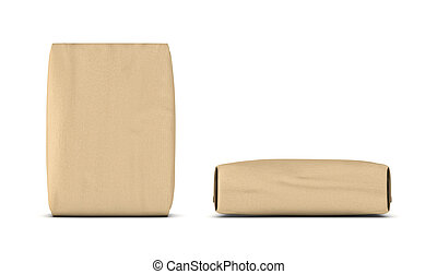 Rendering of two light beige cement sacks, side and front...