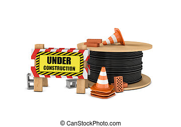 Rendering of wooden barrier with under construction sign,...