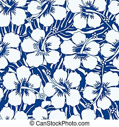 Graphic navy and white tropical flowers seamless pattern