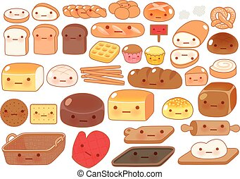 Collection of lovely baby bakery food doodle icon, cute...