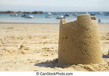 Sandcastle and harbour - Summer scene on beach (with room...