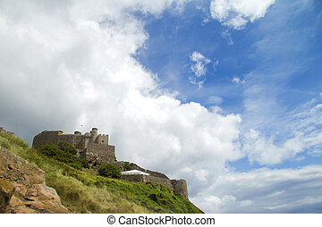 Jersey\\\'s Mount Orgueil castle and s - Room for your text...