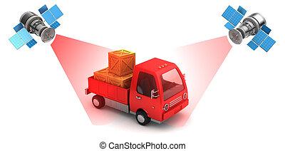 cargo location - 3d illustration of satellite cargo location...