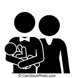 half body pictogram family with baby in arms