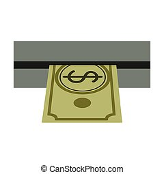 withdraw money from ATM slot vector illustration
