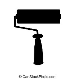 black paint roller icon isolated on white background