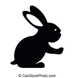 black silhouette rabbit with long ears vector illustration
