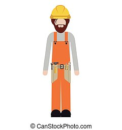 silhouette man worker with toolkit and beard vector...