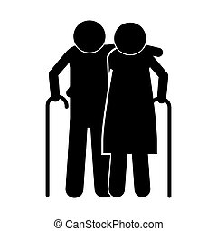 pictogram elderly couple with walking stick vector...