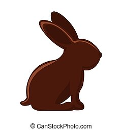 silhouette of chocolate rabbit with long ears vector...