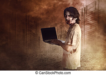 Horrible male zombies standing typing in laptop looking at...