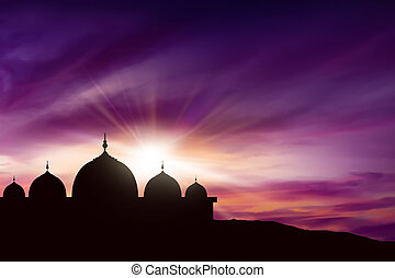 Silhouette mosque picture and twilight background.you can...