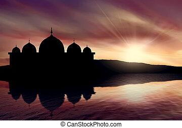Silhouette mosque picture and twilight background and sea...