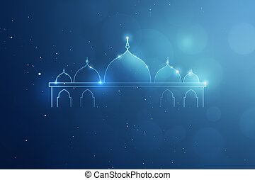 Template giftcard blue background and mosque logo, you can...