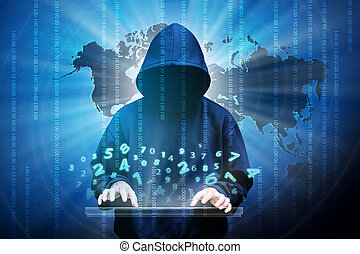 Computer hacker silhouette of hooded man with binary data...