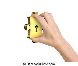 Hand holding one golden puzzle piece with keyhole, isolated...