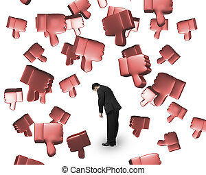 Falling 3D thumbs down with man tired - Falling red 3D...