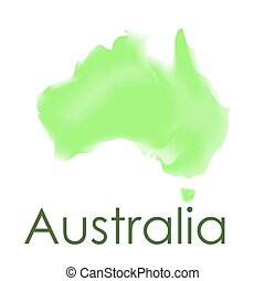 Vector watercolor map of Australia on a white background.