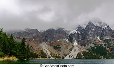 Mountain Range with Snow and Mist. - Beautiful Mountain...