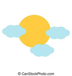 Isolated sun and clouds design