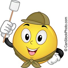 Smiley Scout Marshmallow Camp - Mascot Illustration of a...