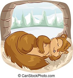 Squirrel Long Nap Hollow Tree - Animal Illustration...