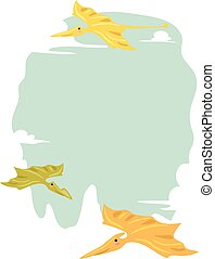 Dino Pterodactyl Frame - Frame Illustration Featuring a...