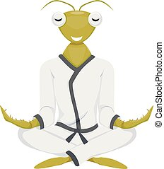 Mascot Praying Mantis Yoga - Mascot Illustration of a...