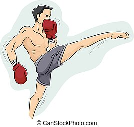 Man Muay Thai Kick Boxing - Illustration of a Muscular Man...